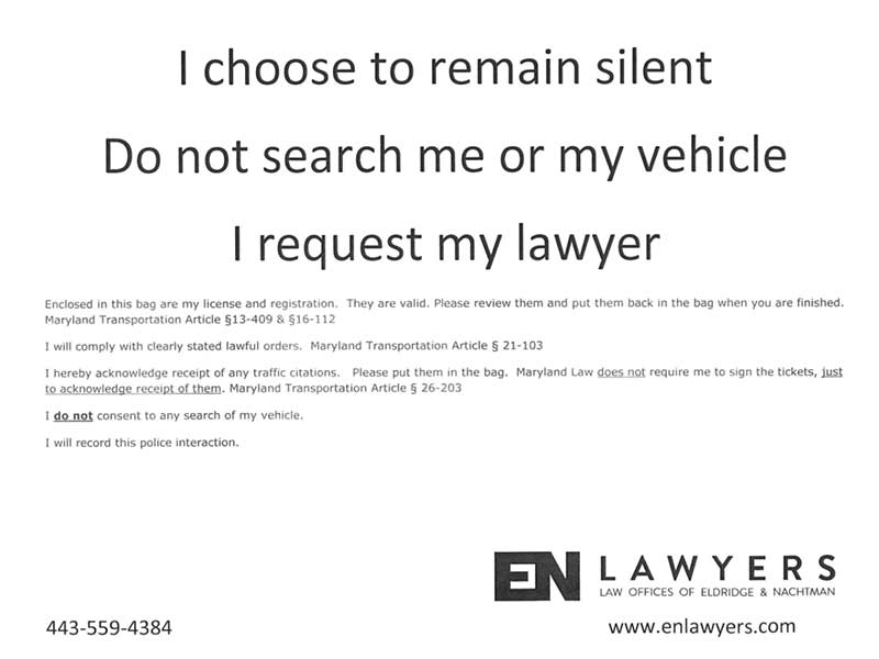 Remain Silent DUI Checkpoint Maryland